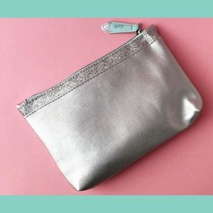 Makeup Bag Silver Glitter Cosmetic Clutch Ipsy